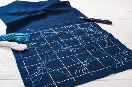 日本刺繍の技法は、刺し子、トンボ