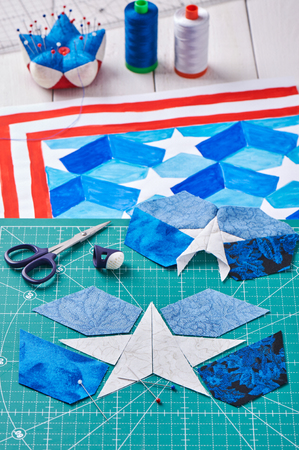 Sewing of quilt with stylized elements of American flag
