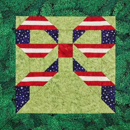 Patchwork block. Stars and stripes USA bowknot on a green background