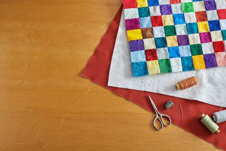 Process of quilt sandwich assembling, sewing accessories 写真素材