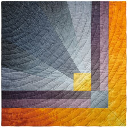 Gray and orange abstract geometric modern mini quilt