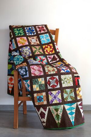 Variant of the well-known quilt Dear Jane on chair