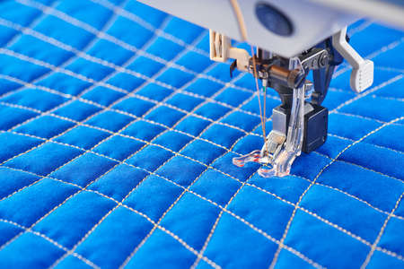 Process quilting with an electric sewing machine by using a free-motion technique
