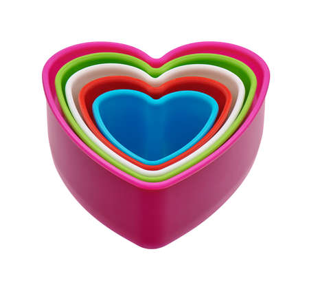 Colorful heart-shaped plastic cookie cutters set, cut out