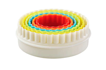 Set of circular plastic double sided cookie cutters, cut out
