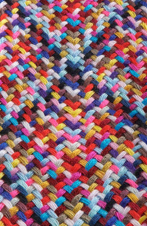 A braid of multi colored sewing threads, photo stacking Stock fotó