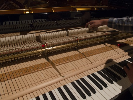 ivories: Tuning Piano with Audio. Close up shot of tuning piano with audio. Flowing shot of tuning piano with audio.