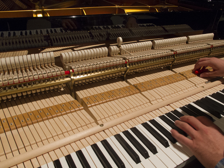 Tuning Piano with Audio. Close up shot of tuning piano with audio. Flowing shot of tuning piano with audio.