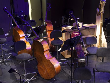 live action: musical instruments on the stage and in the orchestra pit