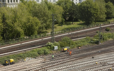 depot: Rail tracks in depot. sleepers, top view Stock Photo