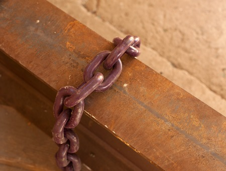 close up old rusty metal chain Stock Photo