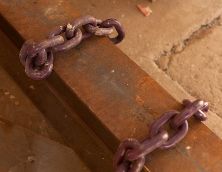 rusty chain: close up old rusty metal chain Stock Photo