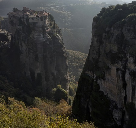 monasteries: Orthodox monasteries are located on the tops of grandiose cliffs. Stock Photo