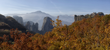 Orthodox monasteries are located on the tops of grandiose cliffs. Stock Photo