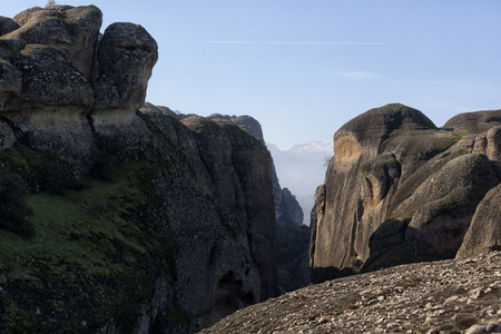 kalambaka: Orthodox monasteries are located on the tops of grandiose cliffs. Stock Photo