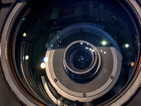 Camera lens close-up. Buttons and camera control toggle switch close-up. Stock Photo