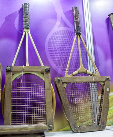 Detail of vintage tennis racket, the beginning of the twentieth century, close-up. Stock Photo