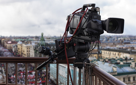 high definition television: professional camcorder on the shooting of the cityscape Stock Photo