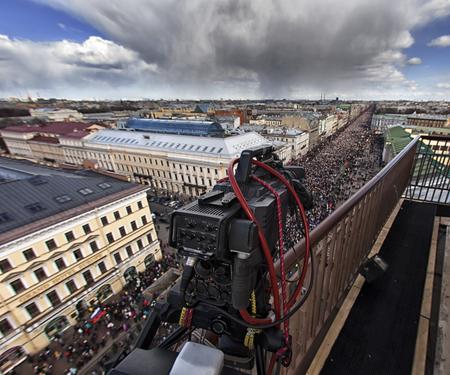都市景観の射撃のプロのビデオカメラ 写真素材