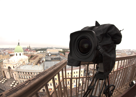 professional camcorder on the shooting of the cityscape Stock Photo