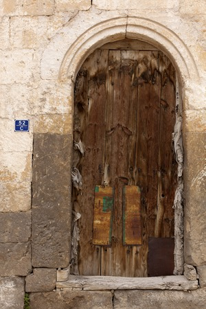 old door on an ancient building, close-up