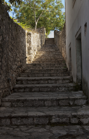 Old damaged stone staircase, up and down,