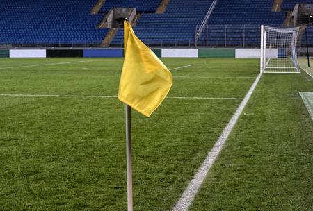 Soccer training field, Football flag corner. football field. Stockfoto