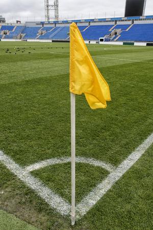 Soccer training field, Football flag corner. football field. Stock Photo