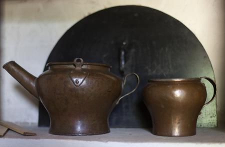 old kitchen utensils in the retro Russian estate.