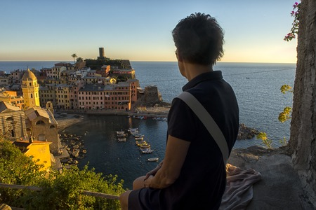 Cinque Terre, historical Center. natural landscape. Italy. Stock Photo