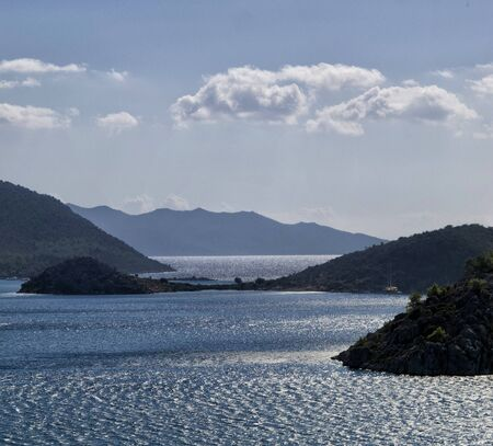seascape panorama Marmaris inTurkey, beautiful coast , Mediterranean Sea