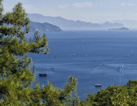 seascape panorama Marmaris inTurkey, beautiful coast , Mediterranean Sea.