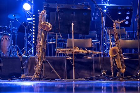 Jazz instruments before the jam session on stage.