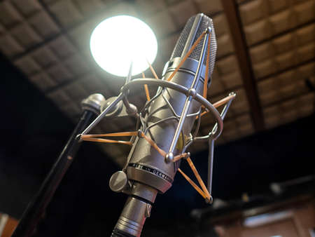 Condenser Microphones that are used for audio and song recording. Voice over and noise cancellation devices in a studio.
