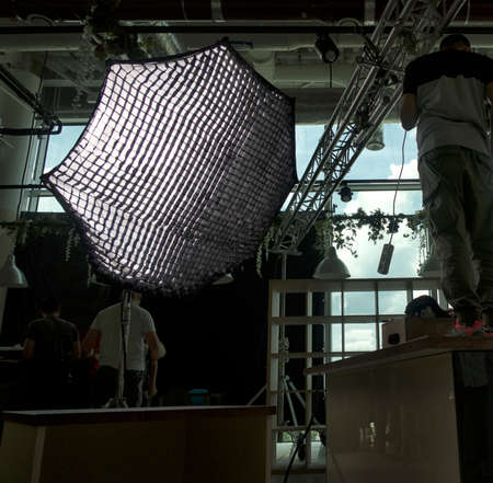 Film industry. lighting equipment used during the filming of the concert and TV shows