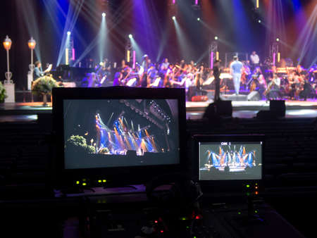 Theater lighting equipment used during the filming of a concert and TV shows
