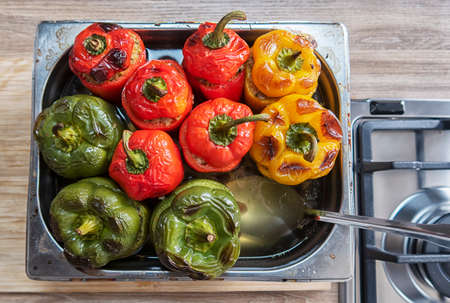 bell peppers stuffed with meat and bulgur baked in the oven.