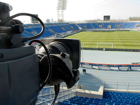 tv camera in the football stadium before the game.