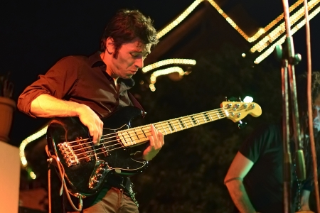 bassist: Guitarist rock bassist Stock Photo