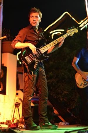 lighting effects musician: Guitarist rock bassist Stock Photo