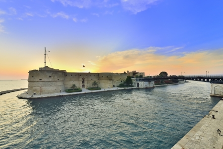 apulia: Taranto - sunset over the waterway