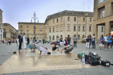 Lecce - street performers in Piazza Sant Oronzo Editorial