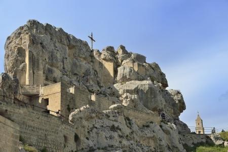 Matera - external view of a cave church Imagens