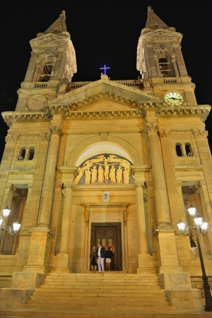 the humanities landscape: Basilica of Saints Cosma and Damiano - Alberobello BA Stock Photo