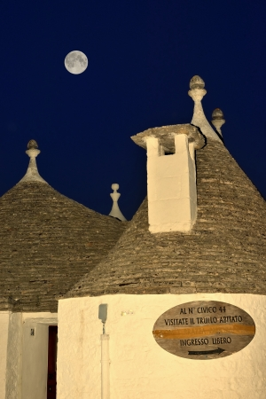 the humanities landscape: Alberobello - The moon rises in the trulli