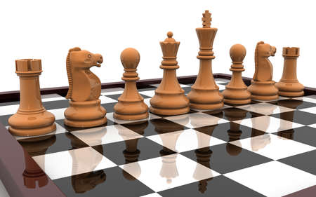 3D illustration of chess board and chess pieces