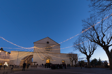 St. Clare church in Assisi during Christmas time, with lights, p
