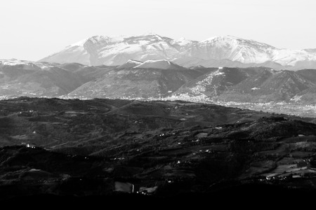 Umbria valley in winter, with a view of Gubbio town