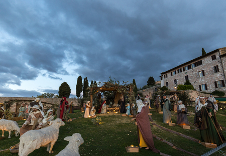 Nativity scene in Assisi, in front of S.Francesco papal church.