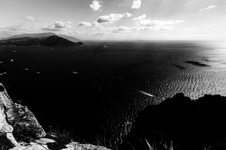 Beautiful aerial view of Napoli gulf from Capri island, with boat trails on the water Stock Photo